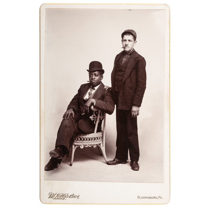Cabinet Card of Black and White Friends with Cigars, ca 1890