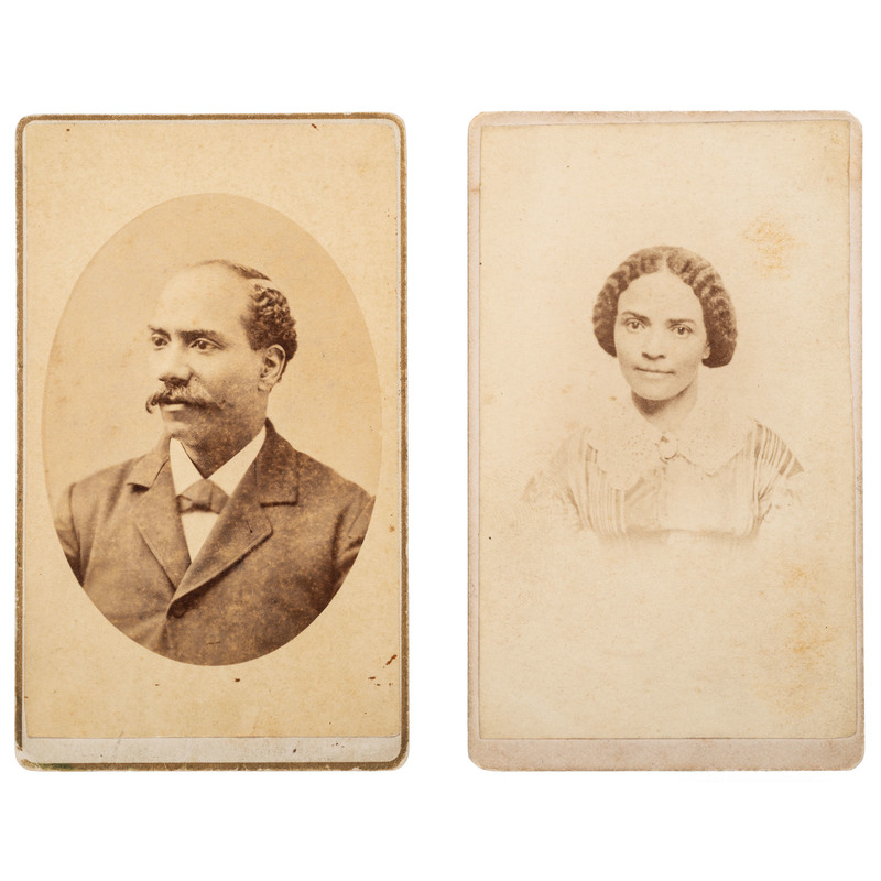 A.S. Thomas CDV Self-Portrait and Portrait of his Wife, ca 1880, Lot of 2
