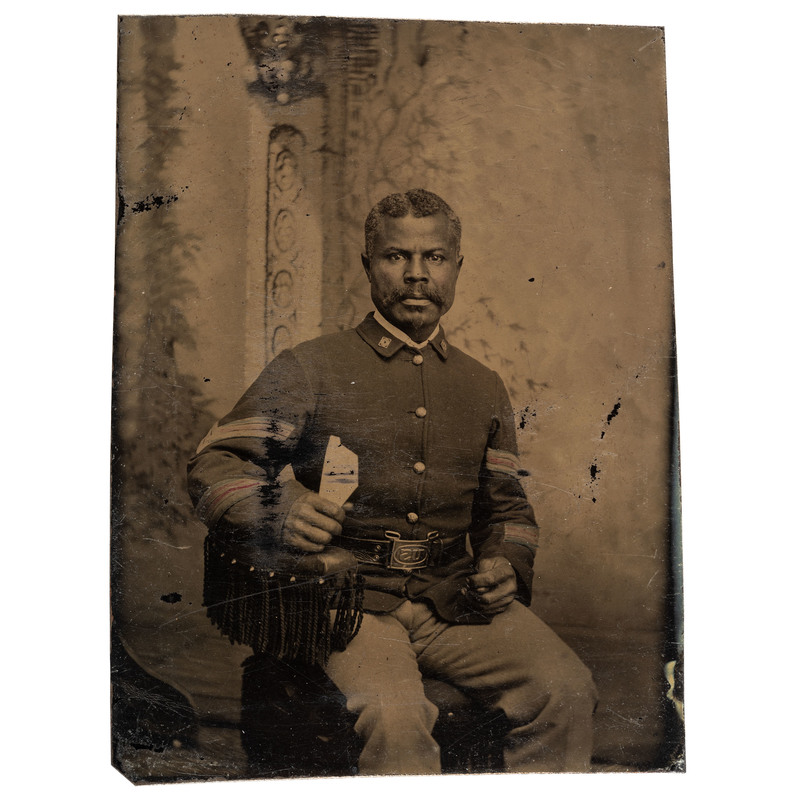 Sixth Plate Tintype of Seated Buffalo Soldier Marksman, ca 1886