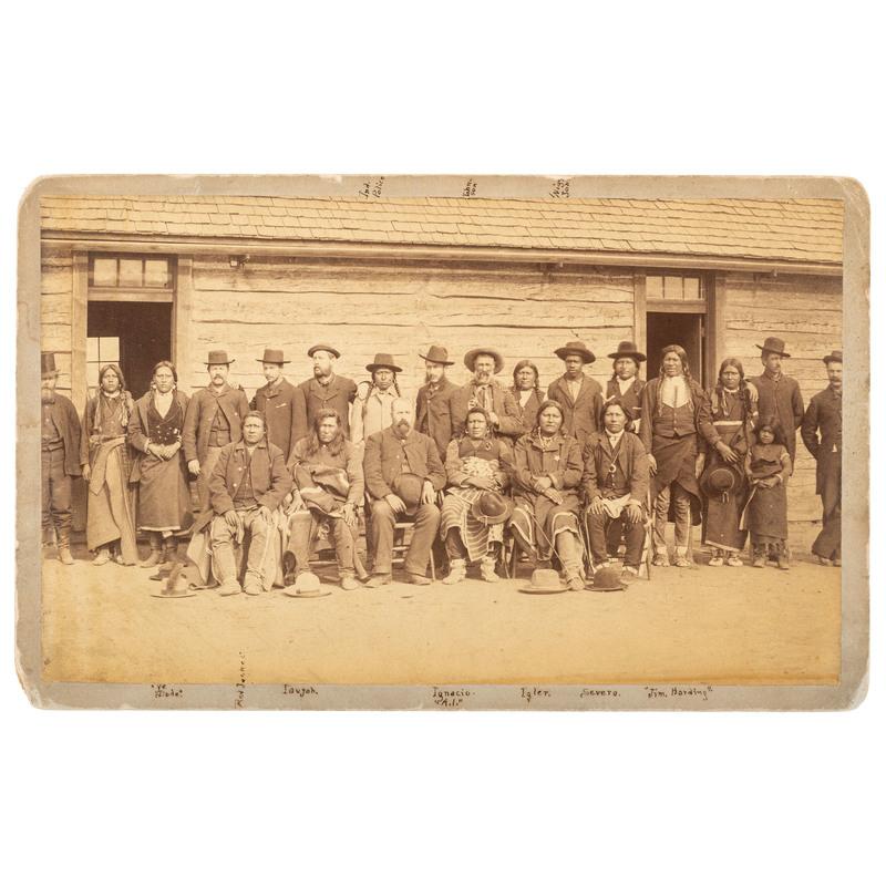John Taylor and Southern Utes at Los Pinos Agency, Boudoir Card, 1882
