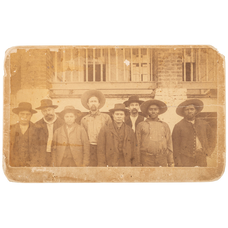 Boudoir Card of Eight Outlaws, Fort Smith, Arkansas, ca 1886