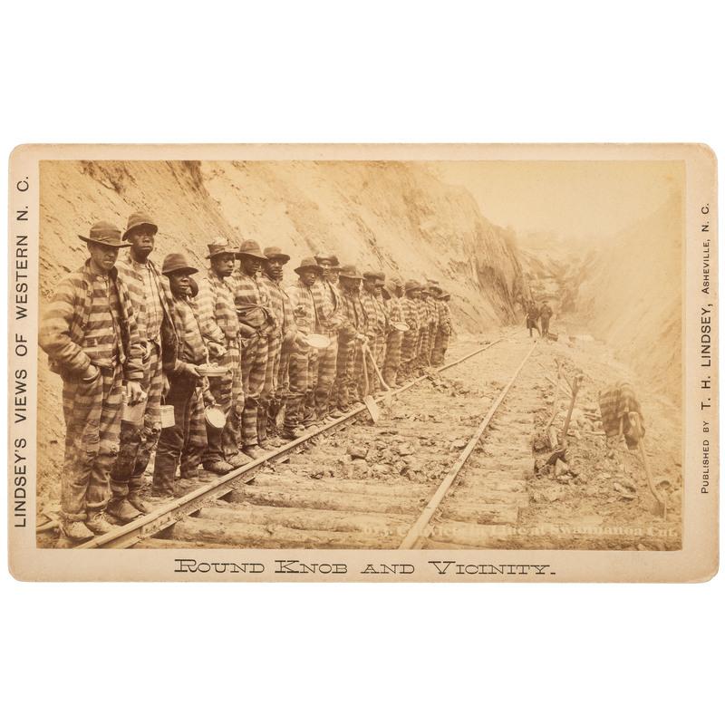 Boudoir Card of Chain Gang at Swannanoa Cut, North Carolina, ca 1885