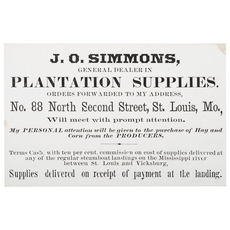 J.O. Simmons, Plantation Supplies Trade Card, ca 1850-1870
