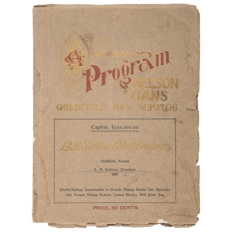 Nelson-Gans Official Program, Goldfield, Nevada, 1906