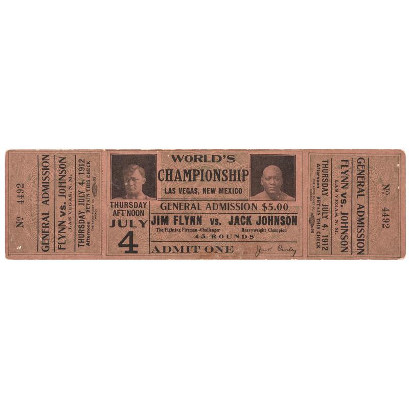 Rare Jim Flynn vs. Jack Johnson Las Vegas, New Mexico Full Unused Fight Ticket, 1912