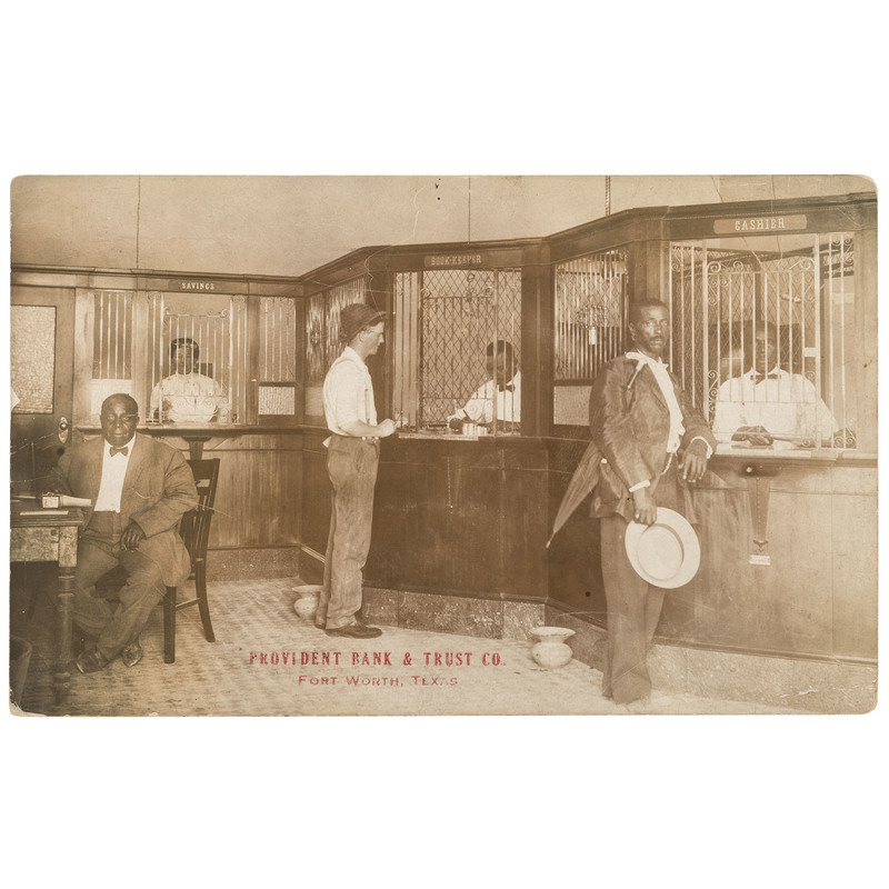 First Texas Black Owned Bank Provident Bank & Trust Co. Fort Worth, Texas Real Photo Postcard, ca 1910