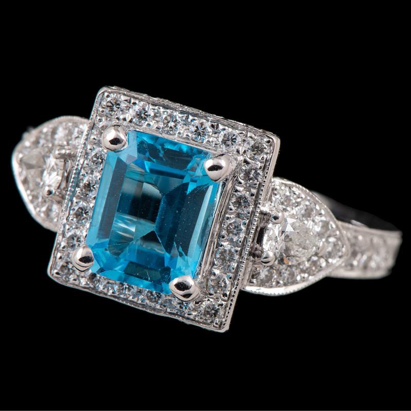 18k White Gold Blue Topaz and Diamond Ring