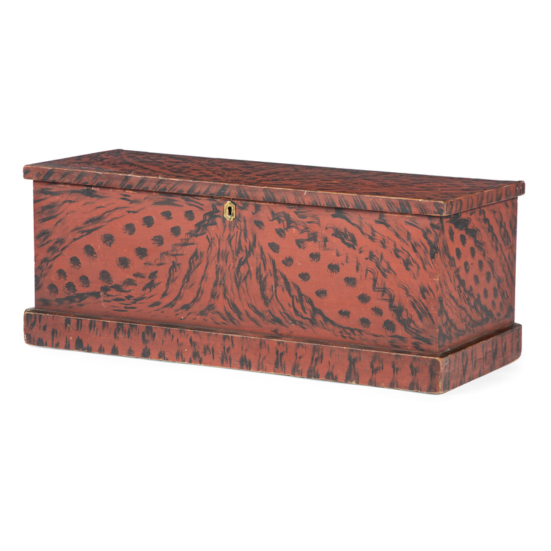 A Federal Grain-Paint Decorated Pine Blanket Chest