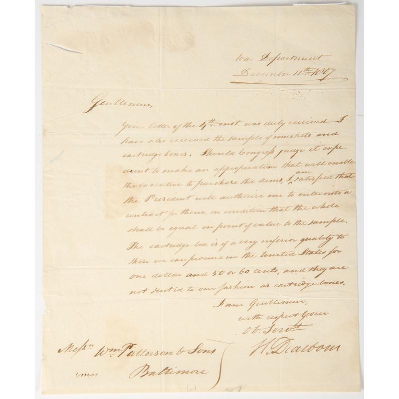 Henry Dearborn ALS as Secretary of War, December 1807