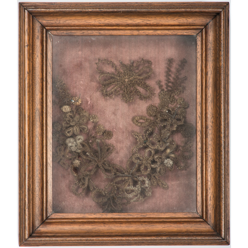 Victorian Mourning Hair Wreath in Shadowbox
