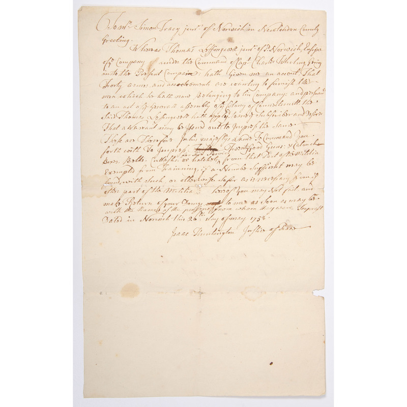 French and Indian War, 1758 Manuscript Order Detailing Impressing of Weapons