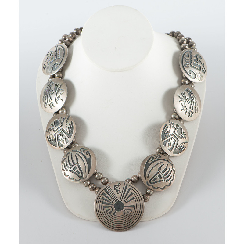 Hopi Sterling Silver Overlay Man in the Maze Necklace