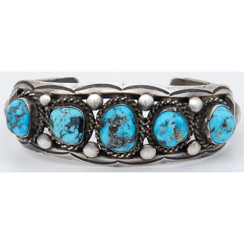 Jimmie Long (Dine, d.1970) Navajo Silver and Turquoise Cuff Bracelet
