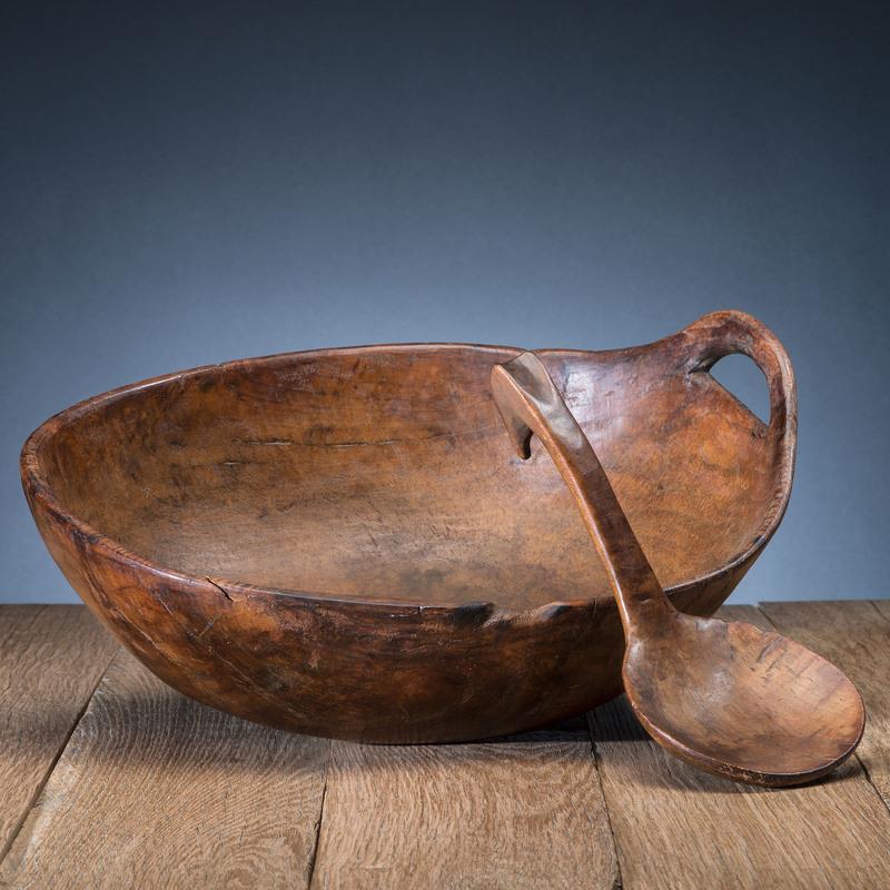 Haudenosaunee Carved Maple Bowl and Ladle