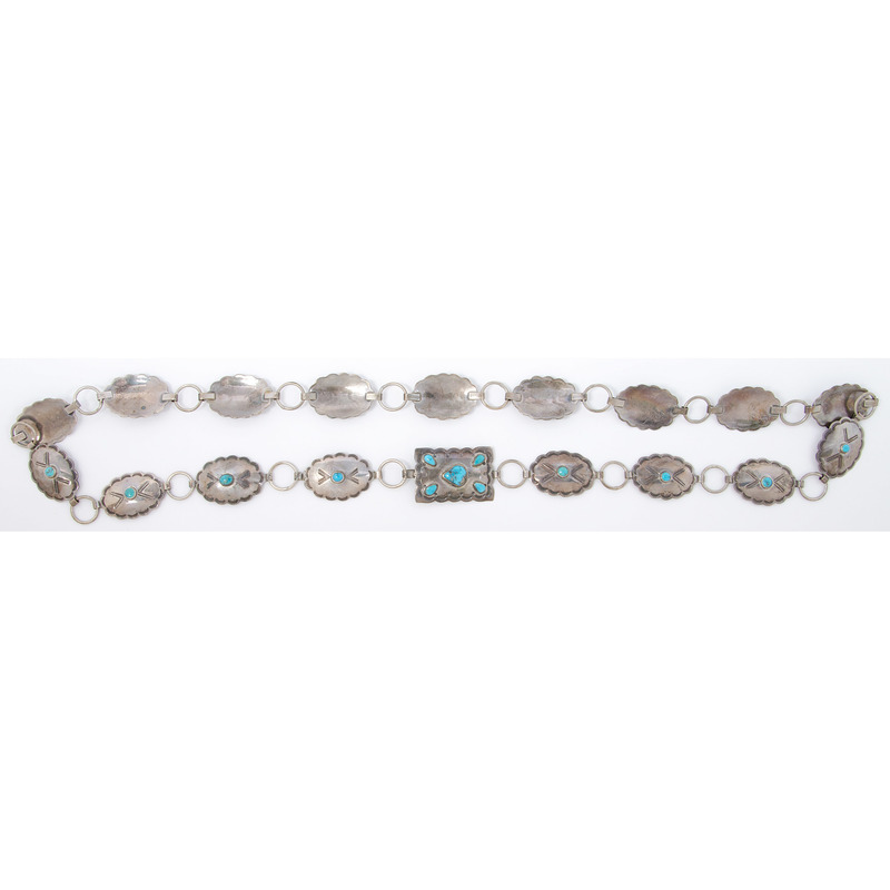 Navajo Silver and Turquoise Link Concha Belt