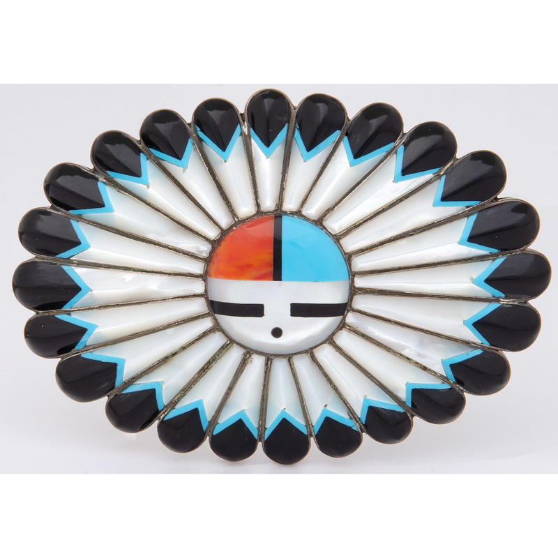 Zuni Sterling Silver Sunface Belt Buckle