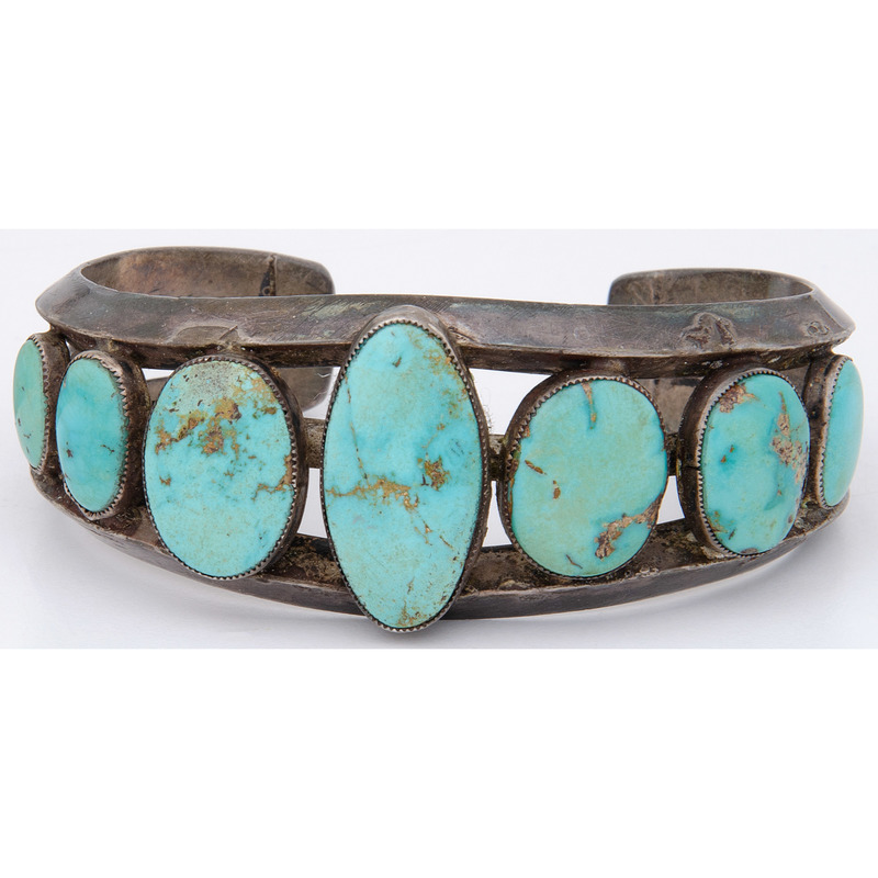Navajo Silver and Turquoise Cuff Bracelet, with Pawn Tag