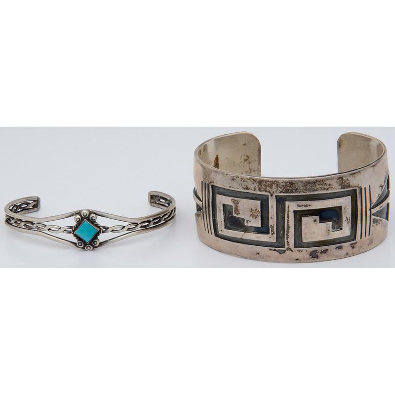 Hopi Silver Overlay Cuff Bracelet PLUS