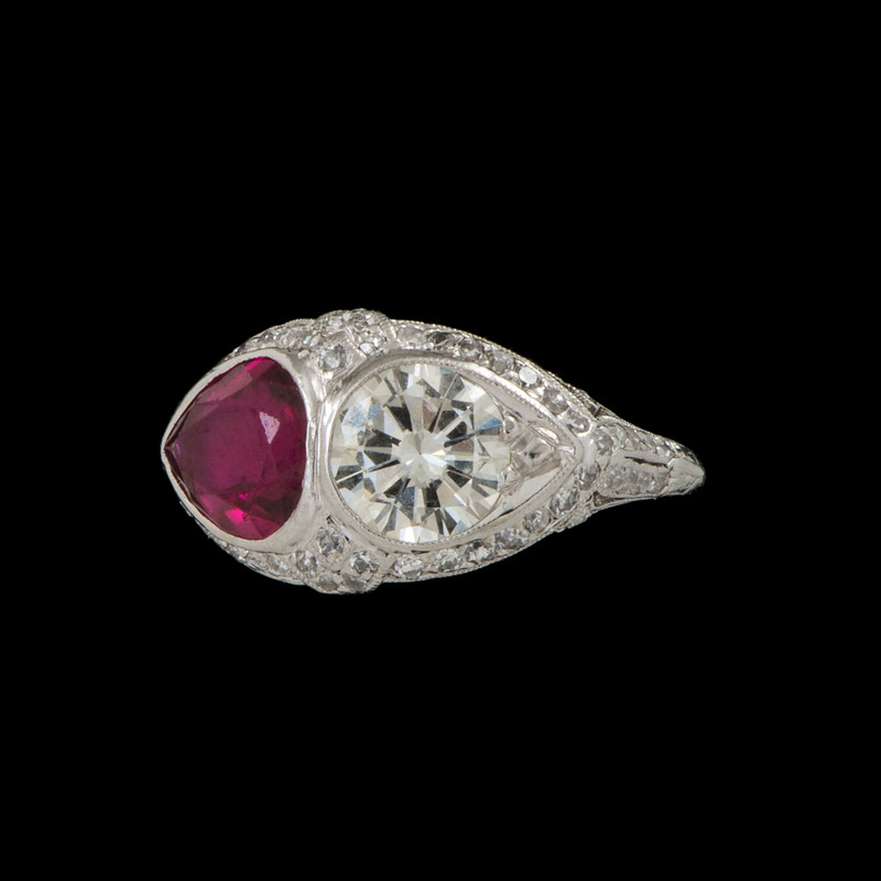 Platinum Diamond and Synthetic Ruby Ring