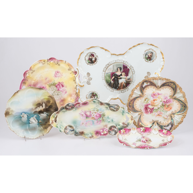 R.S. Prussia Hand-Painted Porcelain Plates, Plus