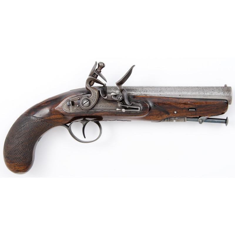 Irish Flintlock Greatcoat Pistol by G. Pepper, Dublin with Stirrup Ramroad