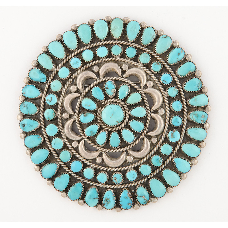 Victor Moses Begay (Dine, 20th century) Silver and Petit Point Turquoise Brooch / Pin