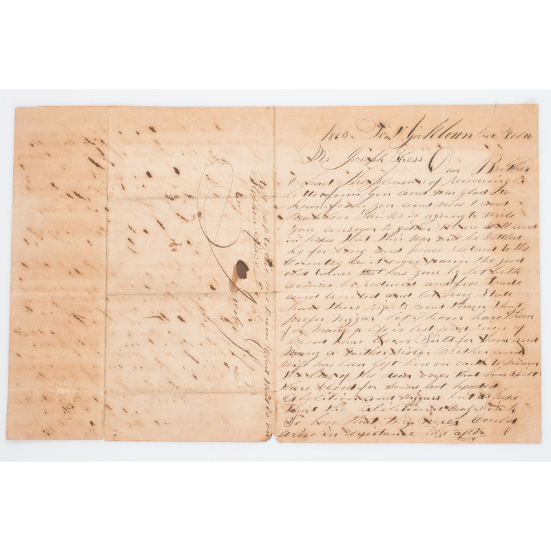Civil War Letter with African American Subject Matter