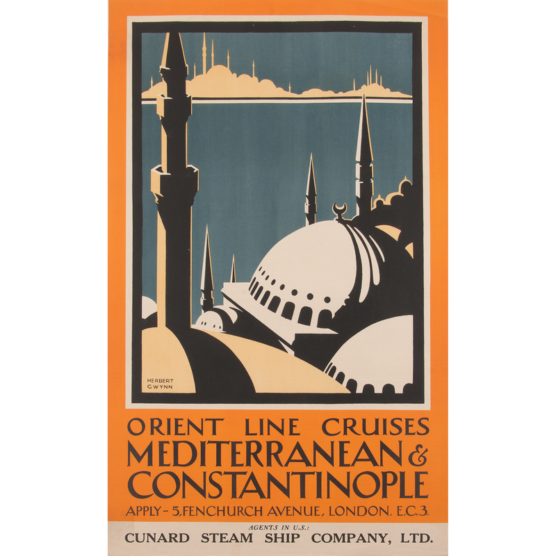 Herbert Gywnn (20th Century) Orient Line Cruises Mediterranean & Constantinople