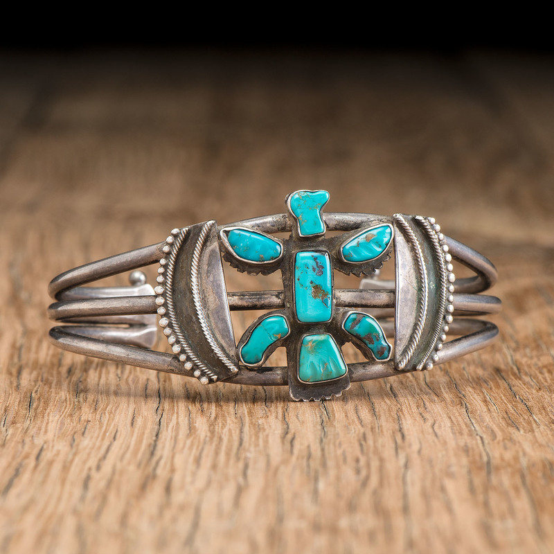 Leekya Deyuse (Zuni,1889-1966) Attributed, Silver and Carved Turquoise Knifewing Cuff Bracelet