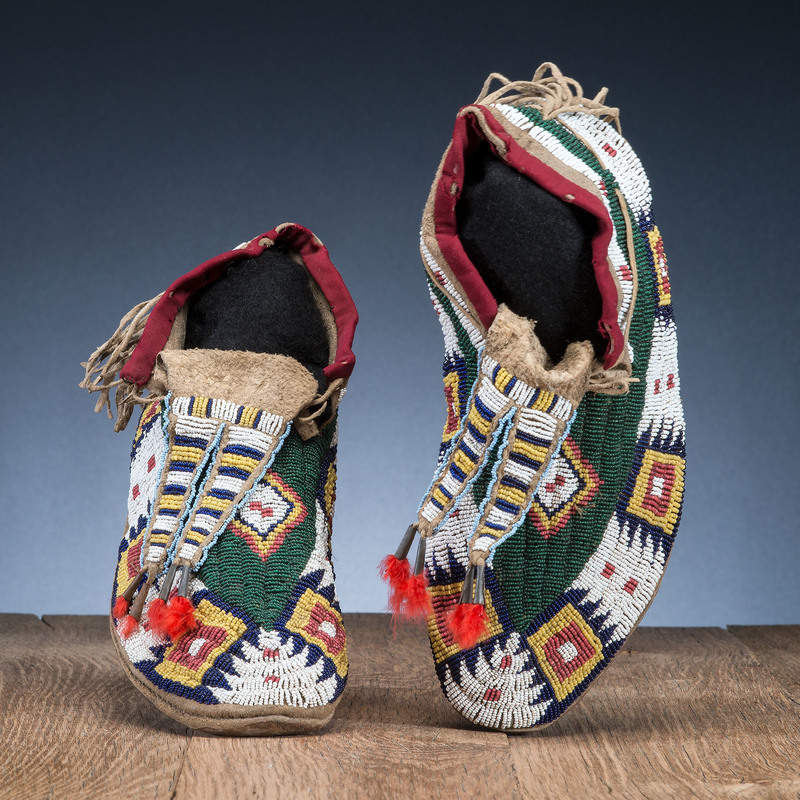 Northern Plains Beaded Hide Moccasins, Collected by General Herbert Everett Tutherly (1848-1921)