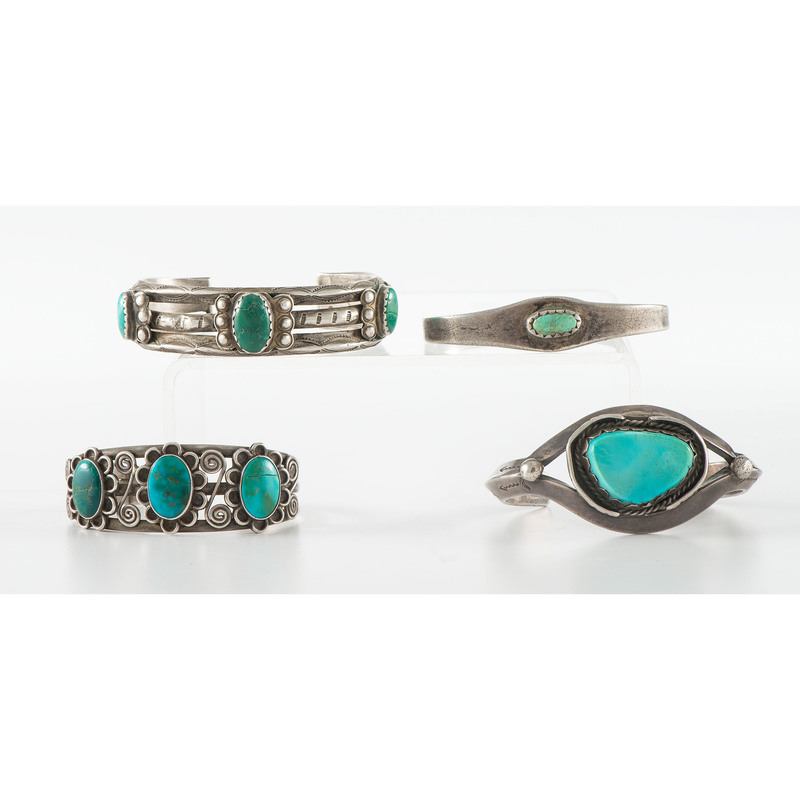 Navajo Silver and Turquoise Cuff Bracelets, One with Blue Gem Turquoise
