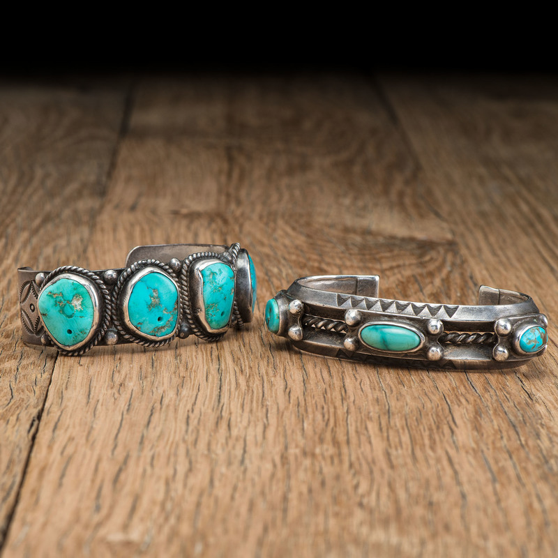 Navajo Silver and Drilled Turquoise Cuff Bracelets
