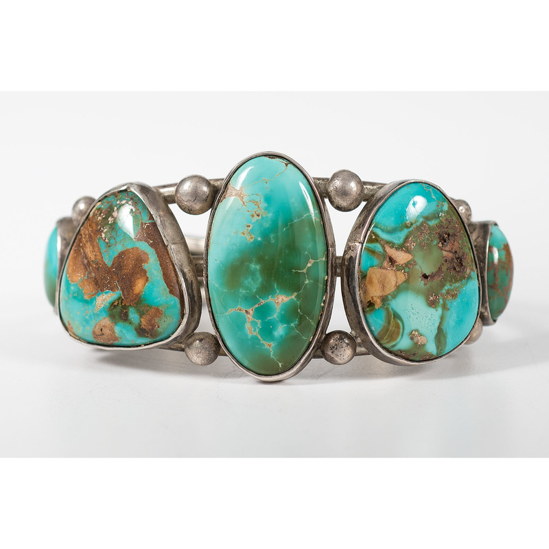 Navajo Silver Cuff Bracelet, with Royston Turquoise