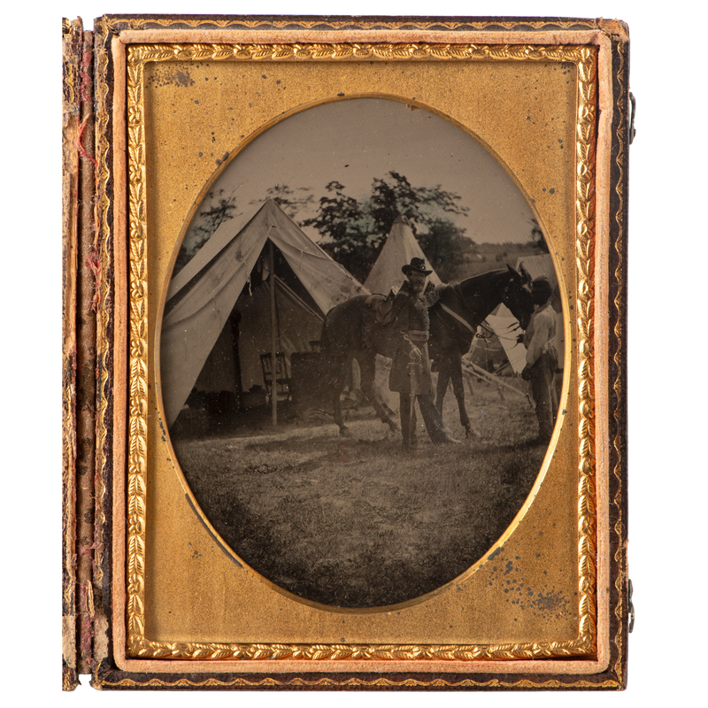 Quarter Plate Tintype of Union Officer Tentatively Identified as Lieutenant Colonel Elliot Rice