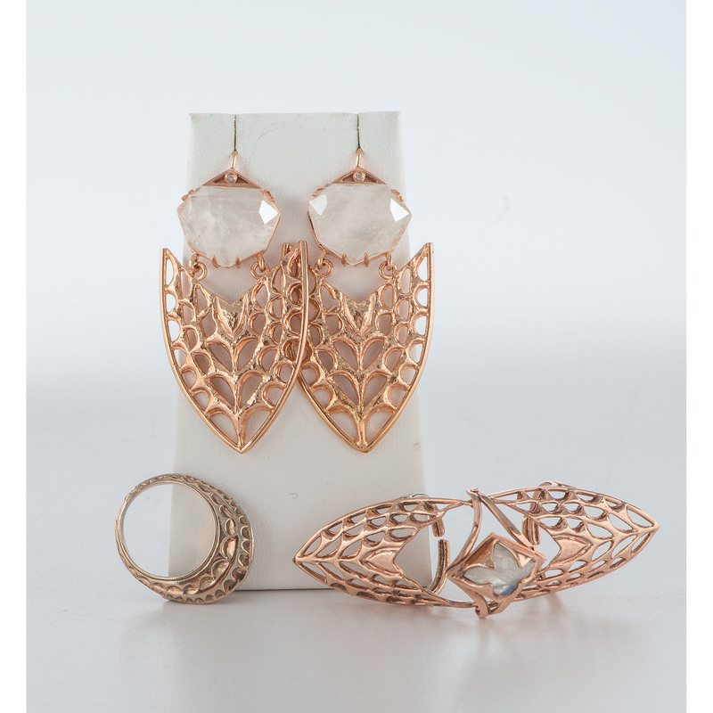 Kristen Dorsey (Chickasaw, 21st century) Rose Gold Plated Jewelry, with Moonstones