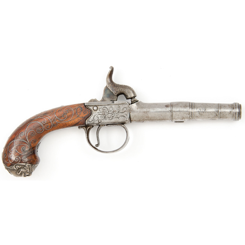English 18th Century Boxlock Flintlock Pistol Converted to Percussion by Mewis & Co