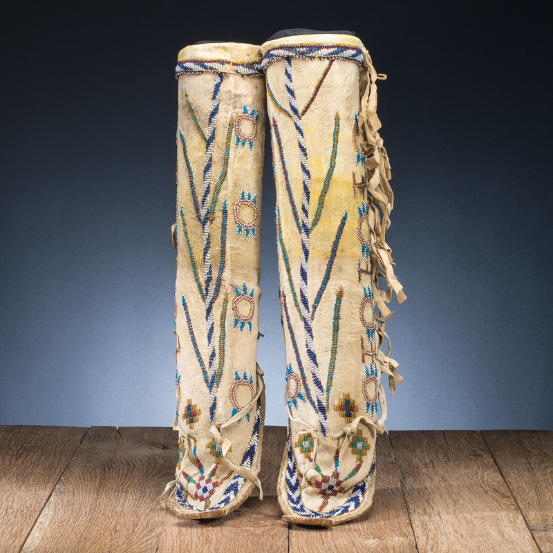 Apache Beaded Hide Boot Moccasins
