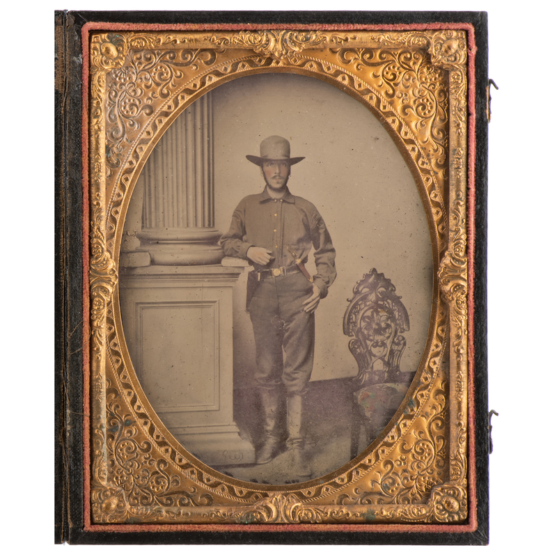 Half Plate Ambrotype of Double Armed Louisiana Soldier by Rees, Tentatively Identified