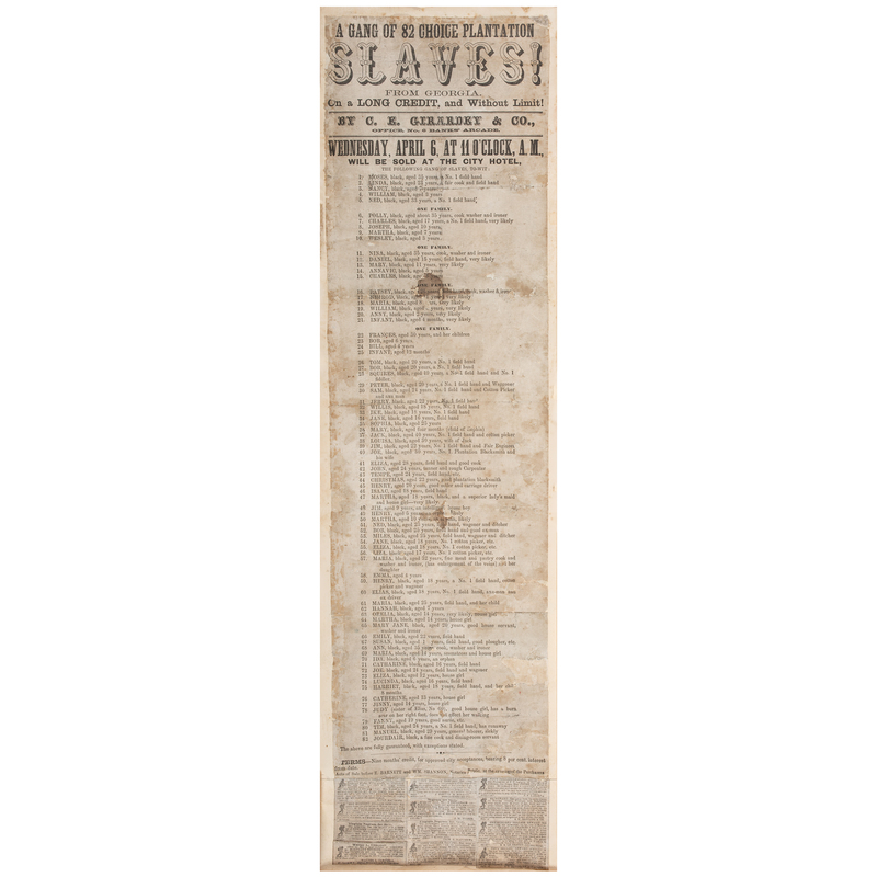 New Orleans Broadside Promoting Promoting Sale of Enslaved African Americans, Ca 1850s