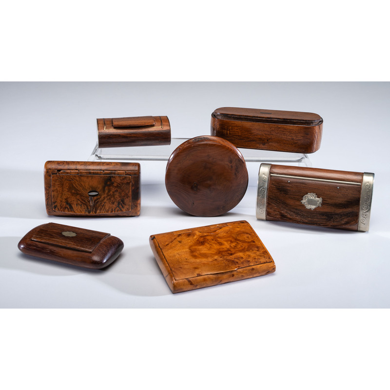 A Group of Seven Wooden and Burl Snuff Boxes