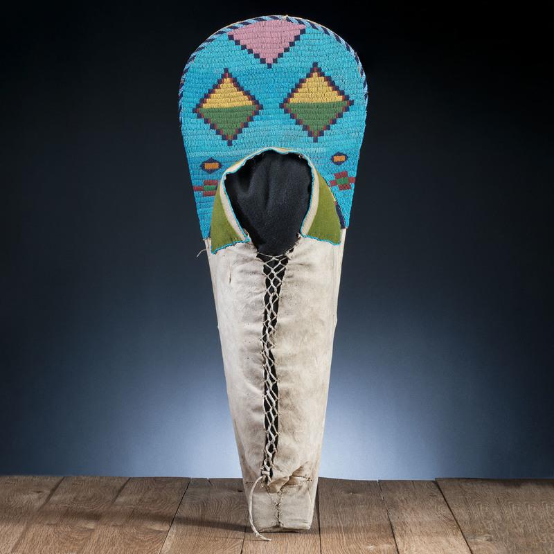 Nez Perce Child's Beaded Hide Cradle, with Photograph
