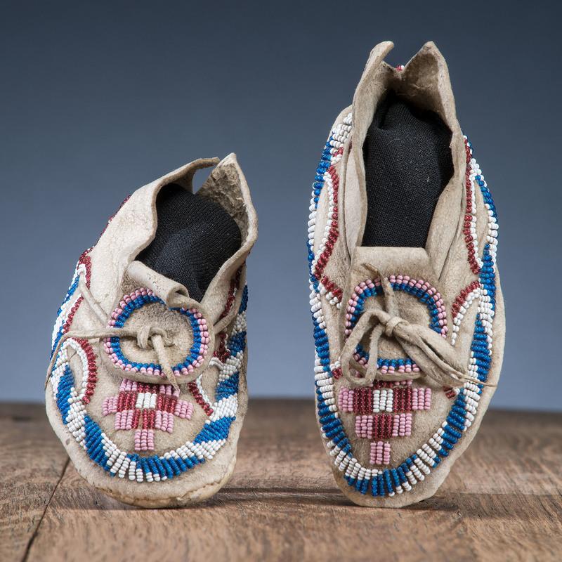 Kiowa Child's Beaded Hide Moccasins