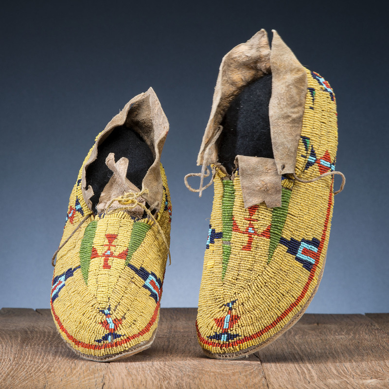 Cheyenne Beaded Hide Moccasins, with Thunderbirds, From the Stanley B. Slocum Collection, Minnesota