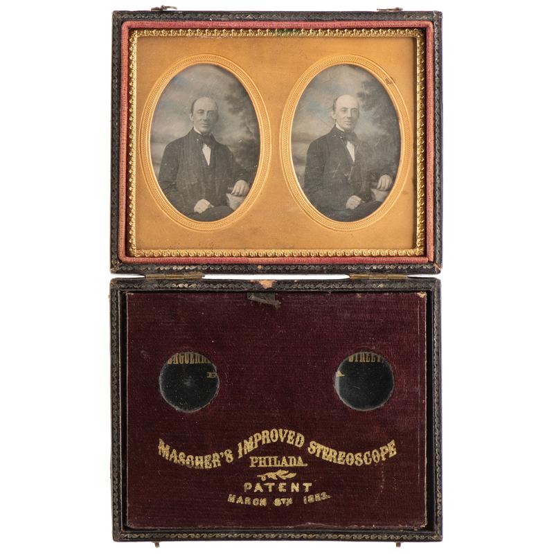 Abolitionist William Lloyd Garrison, Stereodaguerreotype Housed in Mascher Case