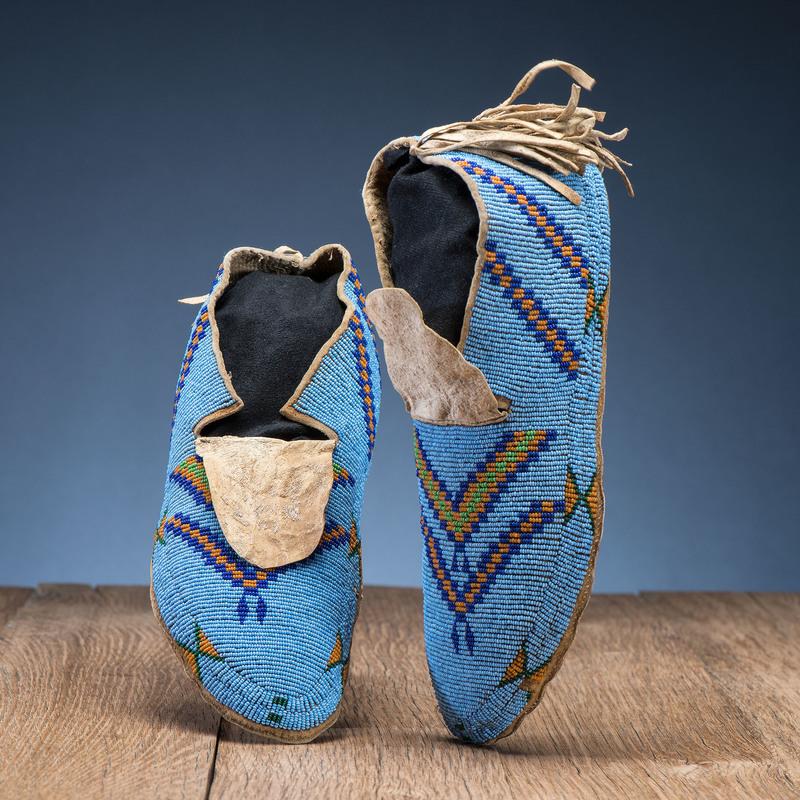 A'aninin / Assiniboine Beaded Hide Moccasins