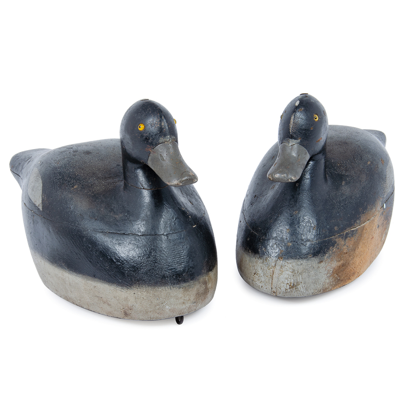 Pair of Frank Strey Custom Made Blue Bill Decoys for The Milwaukee Gun Club Ca 1925-1935