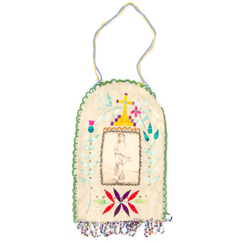 Sioux Quilled and Beaded Hide Picture Frame, with CDV of Child