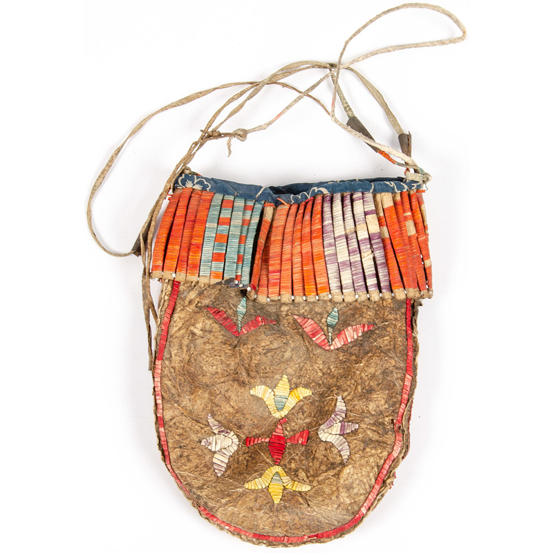 Eastern Sioux Quilled Hide Bag