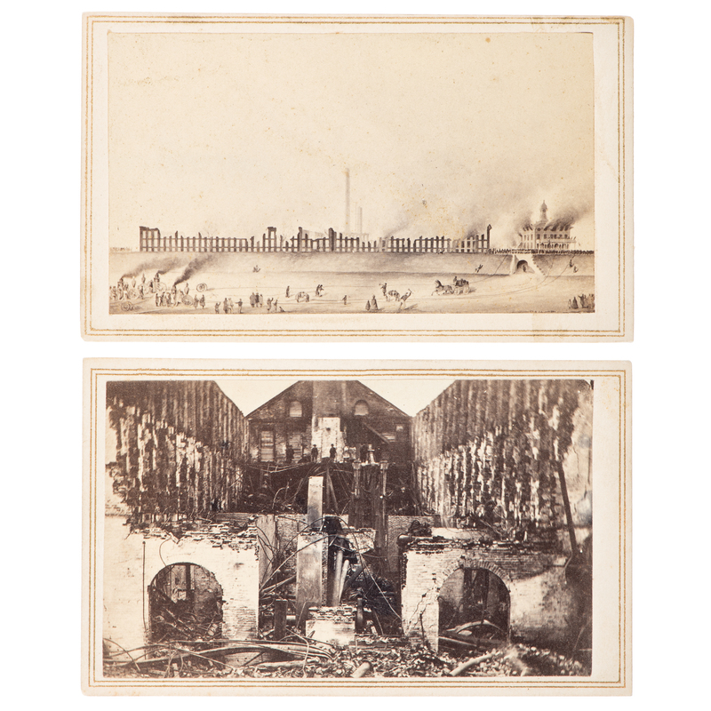 Fire at Colt's Armory, Pair of CDVs Capturing the Inferno of 1864