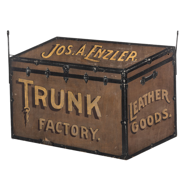 A Joseph Enzler Trunk Factory Figural Painted Wood Trade Sign